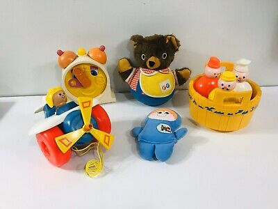 Lot of 5 Vintage Toddler Toys Fisher Price Playskool Roly Poly Bear 3 Men in Tub