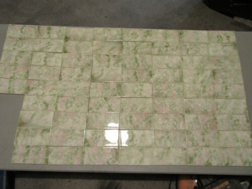 ~ LOT OF 68 ANTIQUE SUBWAY TILES ~ 3 1/8 X 6 1/8 ~ ARCHITECTURAL SALVAGE ~