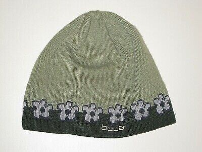 BULA GREEN BLUE FLORAL KNIT BEANIE WINTER SKI HAT WOMENS  OS ONE SIZE