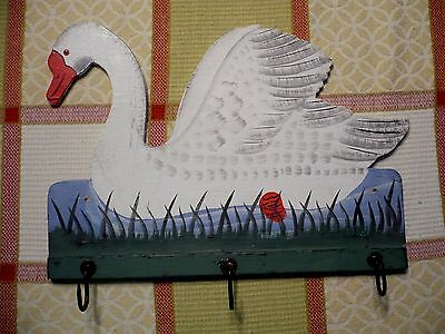 Vintage hand-painted SWAN IN WATER wall hanging/plaque with 3 hooks.Excellent