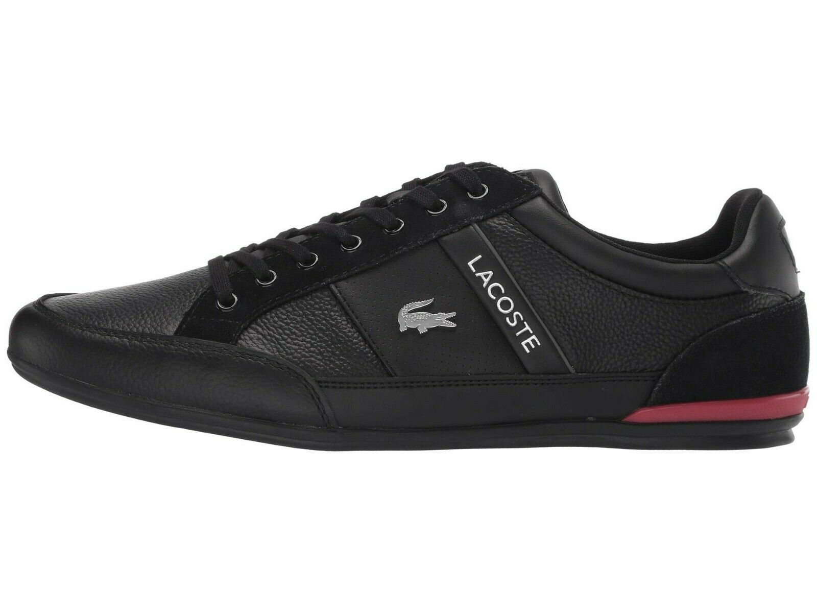 LACOSTE Chaymon 319 Croc Logo Leather Shoes Men's Fashion Sneakers Black Red