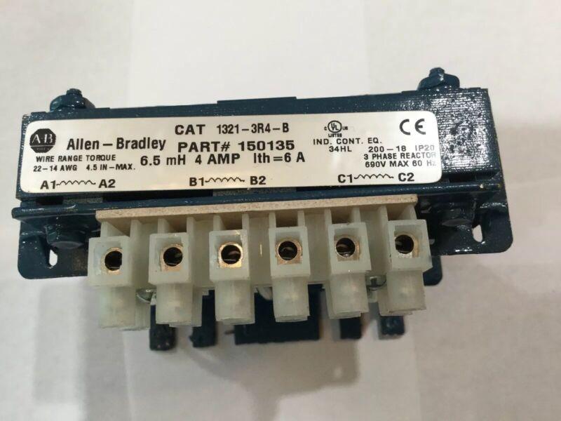 ALLEN BRADLEY Cat 1321-3R4-B Part# 150135 Line Reactor 690V 6.5 mH 4 Amp 3 Ø