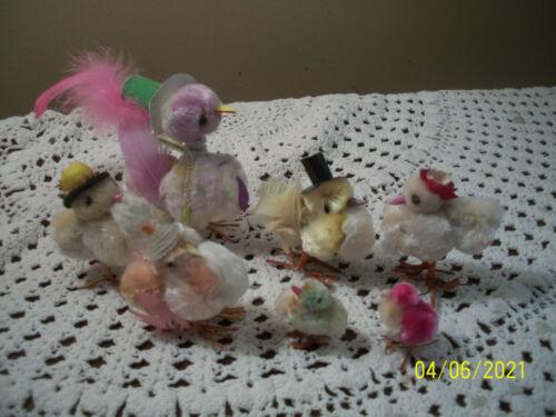 Assortment Vintage Pom Pom Chenille Chicks Turkeys Ducks Top Hats