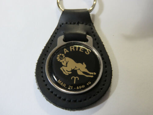 Aries Astrological Symbol Leather Keychain, Key Chain