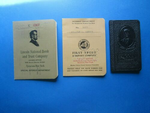 Vintage Passbook Savings Books, Lot of 3, Lincoln National Bank, First Trust