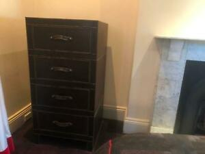 Leather tallboy chest of drawers x 2