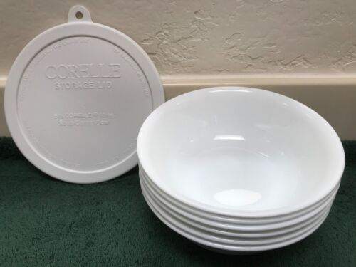 "CORELLE SOUP/CEREAL Bowls White  6 1/4"" Diameter 18 oz. Lot of 6 & 1 Lid"