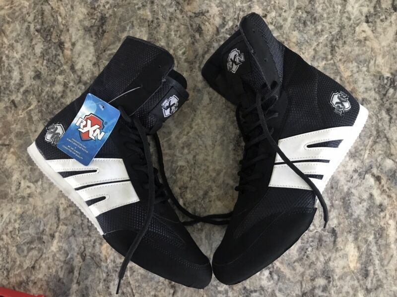 RXN Boxing Shoes Size 10.5 Lightweight Breathable Black Anti Slip Sole NWT