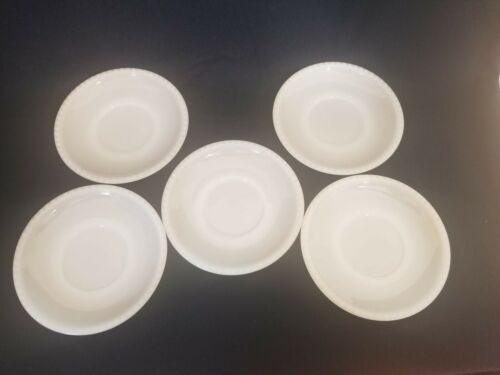 Vintage Milk Glass Small Salad Plates 5 pcs White