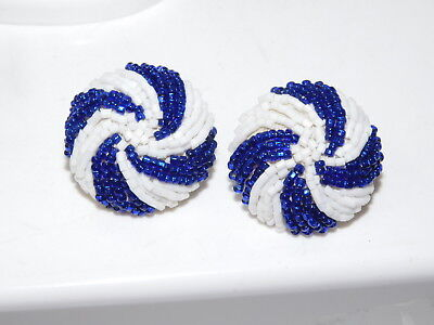 Vintage Blue White Candy Swirl Seed Bead Button Beaded Clip Earrings 5a 82