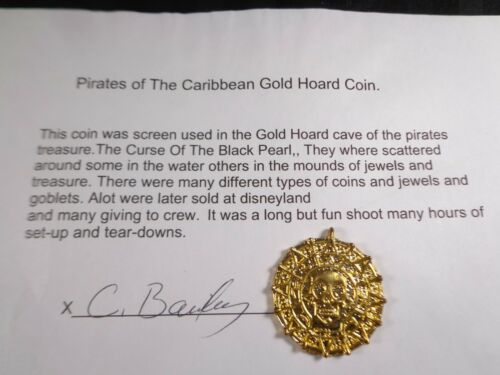 PIRATES OF THE CARIBBEAN Authentic Official FILM PROP - GOLD HOARD COIN & CRT