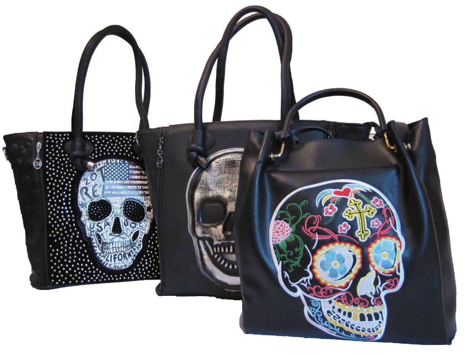 4737fac5e3ad3 Handtasche mit Totenkopf Schultertasche Damen Tasche Bunt Schwarz Skull  Nieten