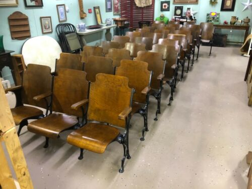 Vintage Church Theater Seats - Row of 3- Wood Wooden & Cast Iron