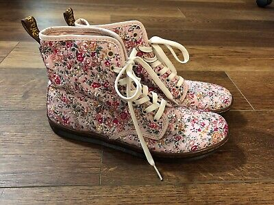 Dr Martens Pink Canvas Floral Lace Up Ankle Boots Womens Sz 9 US 7 UK - Pink Dr Martens Boots
