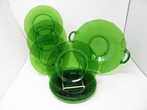 Cake Set - 8 pcs. Forest Green Emerald Cambridge Glass ? Beautiful Lot