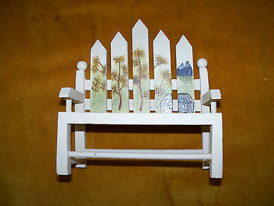 White Miniature Picket Fence Park Bench Hand painted- Wood Bench NEW Doll House