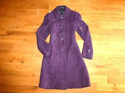 Via Spiga Leather Coat - VIA SPIGA Plum Bouclé WOOL Floral Lining LEATHER Collar COAT Peacoat 10 Pockets