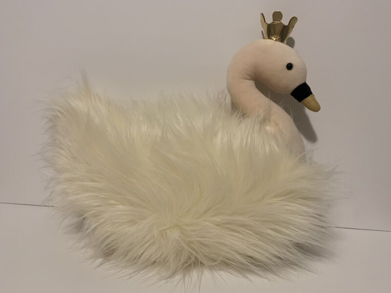 "Jellycat London Fluffy Fancies Swan With Crown Beautiful! Cream Gold 18"" X 15"""