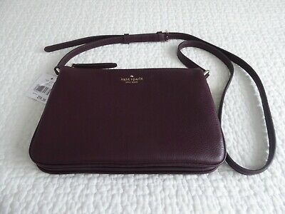 KATE SPADE NEW YORK LEATHER TRIPLE GUSSET X BODY SHOULDER BAG NEW WITH TAGS