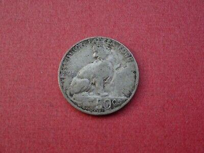 1901 50 Cents Centimes FR Belgique Belgïe Léopold II Argent