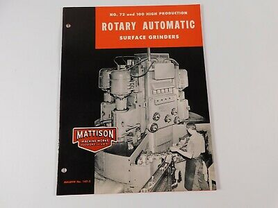 Vtg Original Mattison 72 100 Rotary Automatic Surface Grinders Brochure