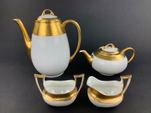 Hutschenreuther Heavy Gold Band White China Coffee Pot Teapot Creamer Sugar Bowl