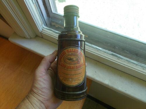 1877 DATED E.R.DURKEE EMB GLOVE HAND BLOWN SAUCE BOTTLE WITH RARE ORIGINAL LABEL