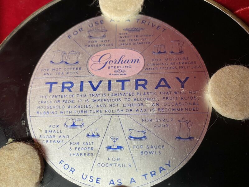 "Set Of 2 Gorham Sterling Black Laminate 6.5"" Trivitray Trivit Serving Tray EUC"