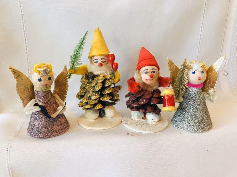 4 Vintage Christmas Ornament Pine Cone Elf Gnome Angels Mica Japan