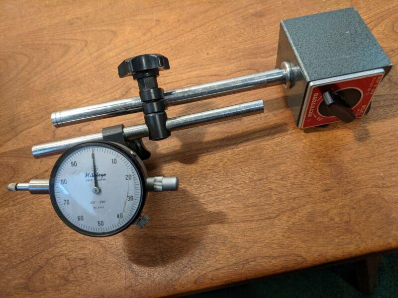 Mitutoyo Magnetic Base w/ Mitutoyo Dial Indicator