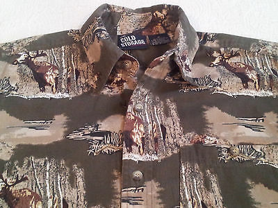 Cold Storage Mens Moose Camo Print Hunting Shirt Heavy Cotton Olive Green Medium
