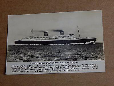 Postcard shipping Cunard White Star Liner Queen Elizabeth valentines card
