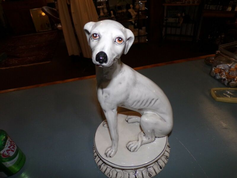 Vintage Porcelin Whippet/Greyhound Statue Italy