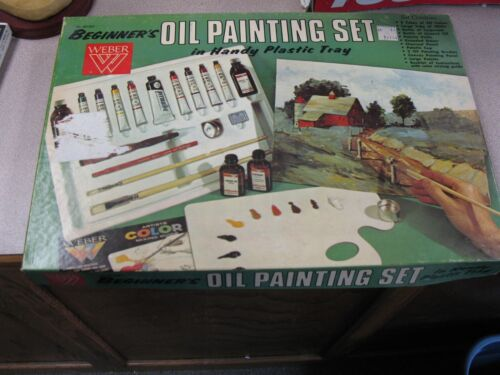VINTAGE/RARE USED WEBER  OIL  PAINTING SET VG CONDITION