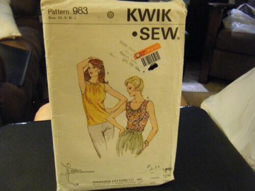 Kwik Sew 983 Misses Top Pattern - Size XS/S/M/L Bust 31 1/2 to 41 1/2
