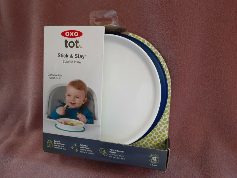 OXO tot Stick & Stay Suction Plate Navy Spill Resistant  New In Box