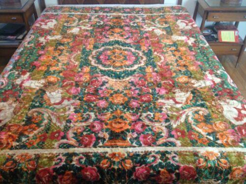 "Vintage Italian Velvet Chenille Cherubs & Florals Bedspread Coverlet 86"" x102"""
