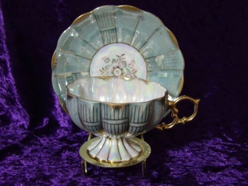 Royal Sealy Lusterware Green/Gold Footed Cup and Saucer