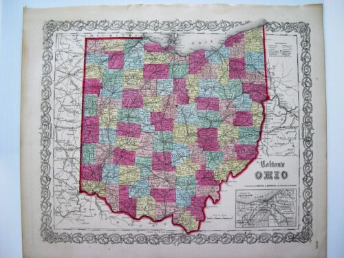 Colton 1855 Map Of Ohio: Original Engraved Map; 16X14