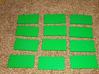 Thick Base (HUGE Lego Base Plate Lot of 12 dark green 8x16 8 dot x 16 dot thick)