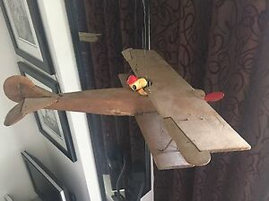 Vintage Folk Art wooden airplane toy. Unique collectable. 30's?