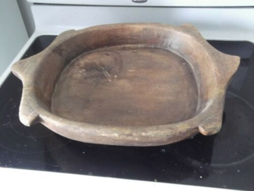 ANTIQUE WOODEN NATIVE BOWL-DESIGNED W/NOTCHES-22 16 INCHES-VERY EARLY-LOOK!