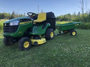 2011 John Deere D120 Lawn Tractor with bagger and trailer!