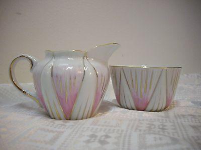 Vintage Berkshire Viceroy Japan Pink White Gold Accent Cream & Sugar Demi Set