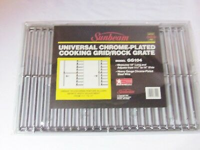 """(Sunbeam Universal Chrome Plated Cooking Grid / Rock Grate 19"""" Long Made in USA)"""