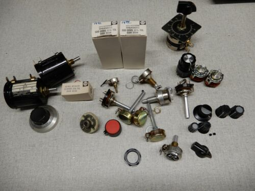 Huge Lot Potentiometers Selector Switches and Knobs Some  AB NOS