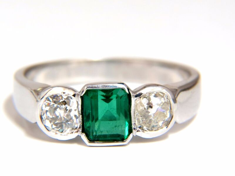 1.65ct Natural Emerald Cut Brilliant Emerald Diamond Ring 18kt Mod Deco