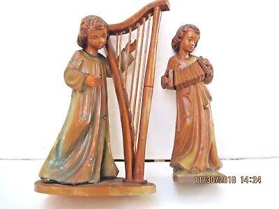 Folk Wood Music - antique hand carved wood figural musicians music players folk art sculpture 8520