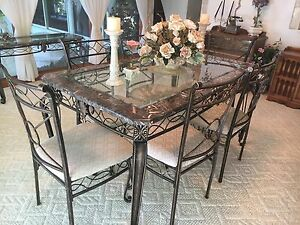 Dining Set. Marble and Glass