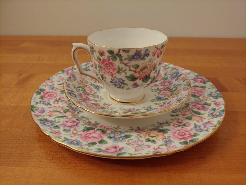 "Crown Staffordshire ""Springtime Chintz ""Tea Cup & Saucer Dessert Plate Trio"